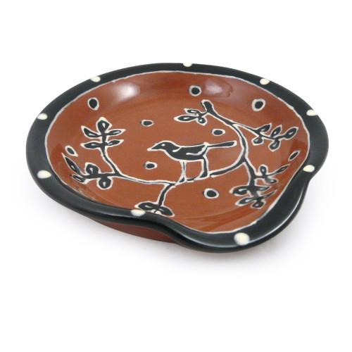 Terra Cotta Pottery Spoon Rest - Blackbird Motif