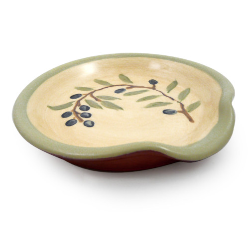 Terra Cotta Pottery Spoon Rest - Olive Branch