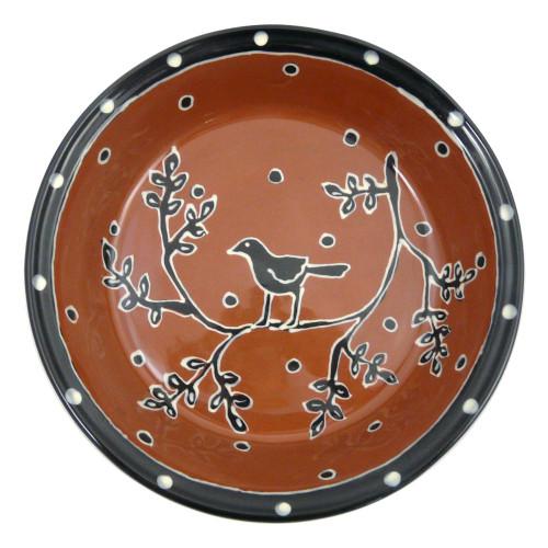 Terra-Cotta Deep-Dish Pie Plate, Blackbird Motif