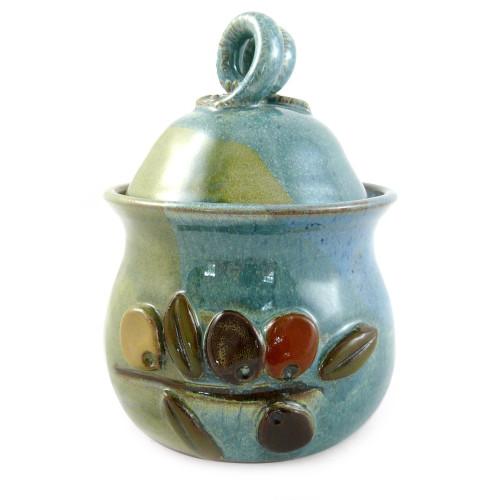 Stoneware Garlic Keeper with Olive Motif