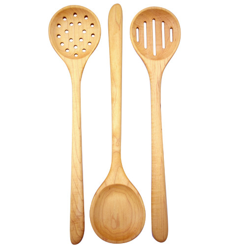 American Hardwood Utensils: Long-Handle Mixing/Serving Spoons Set