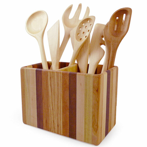 Mixed Hardwood Utensil Holder - Double Size