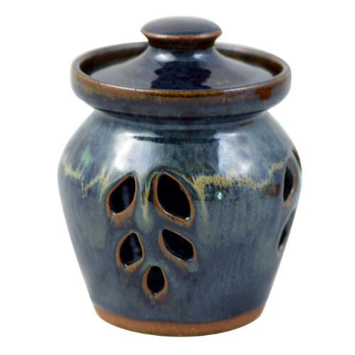 Seagrove Pottery Garlic Keeper in Midnight Blue