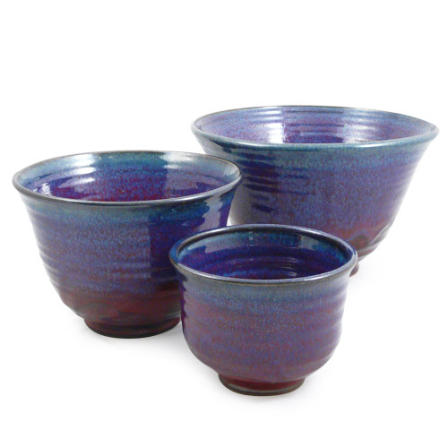 Plum Perfect Nested Stoneware Mixing Bowls
