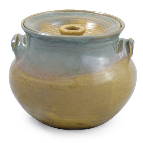 Stoneware 2.25-Qt Bean Pot, Sea Oats Glaze