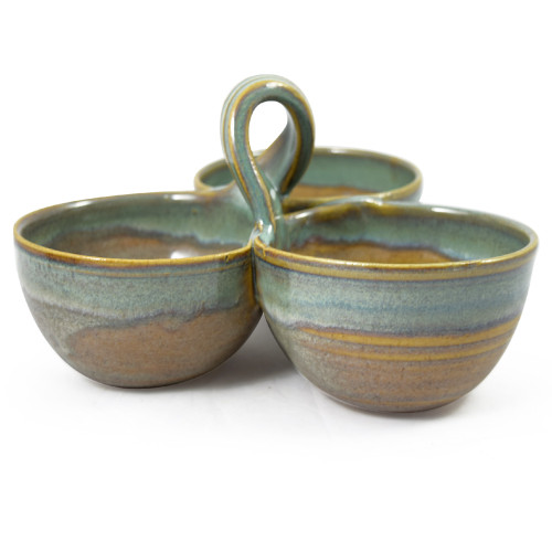 Stoneware 3-Bowl Condiment Dish, Sea Oats Glaze