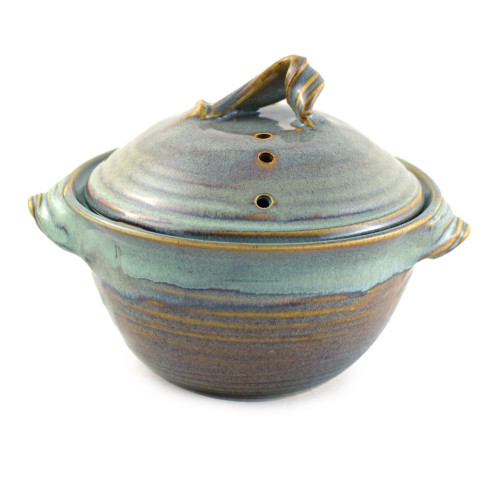 Stoneware Pottery Microwave Vegetable Steamer, Sea Oats Glaze