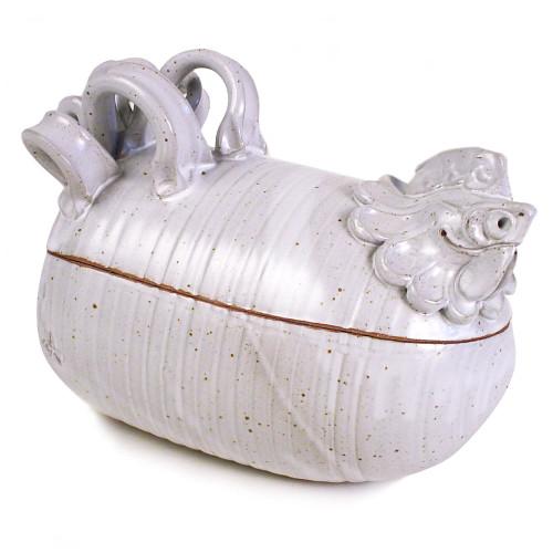 Sculpted Stoneware Chicken Roaster