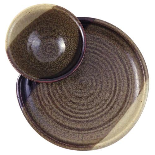 Stoneware Chip and Dip Platter in Mocha Cream