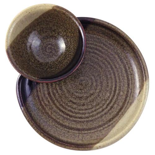 Stoneware Chip and Dip Platter in Mocha Cream