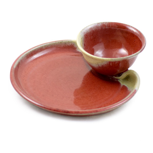 Stoneware Chip and Dip Platter in Red Delicious