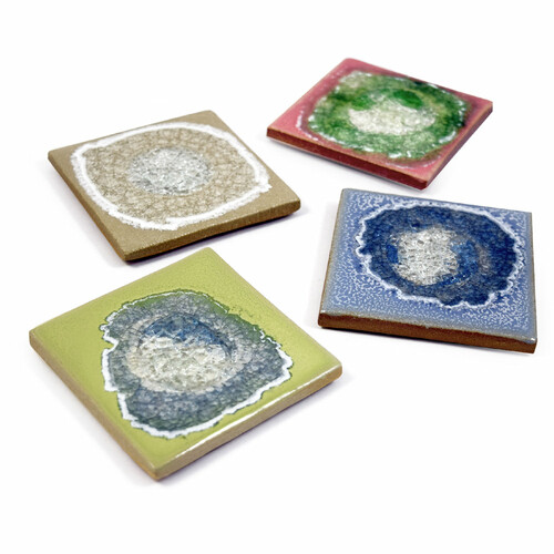 Four Seasons Glass Geode Coaster Set