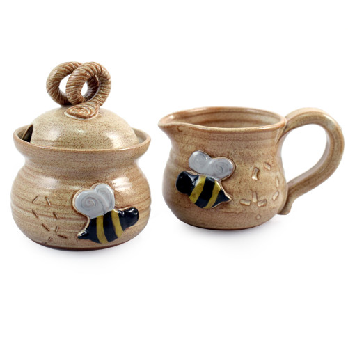 Stoneware Cream and Sugar Set with Bee Motif