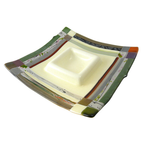 Earth-Tone Fused Glass Chip and Dip Platter