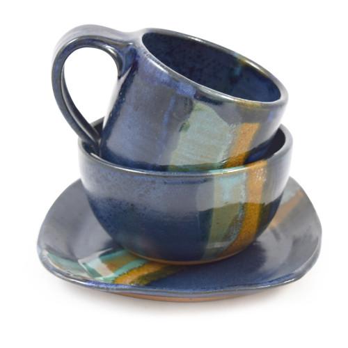 Three-Piece Stoneware Breakfast Set, Cobalt Blue