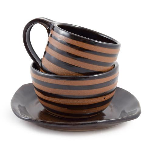 Three-Piece Stoneware Breakfast Set, Mocha Brown Stripe