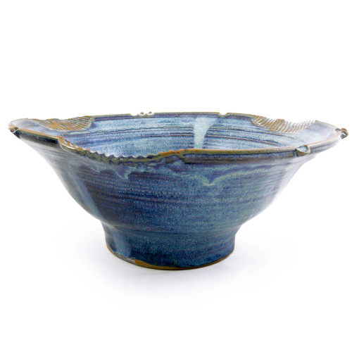 Large Stoneware Serving Bowl in French Blue
