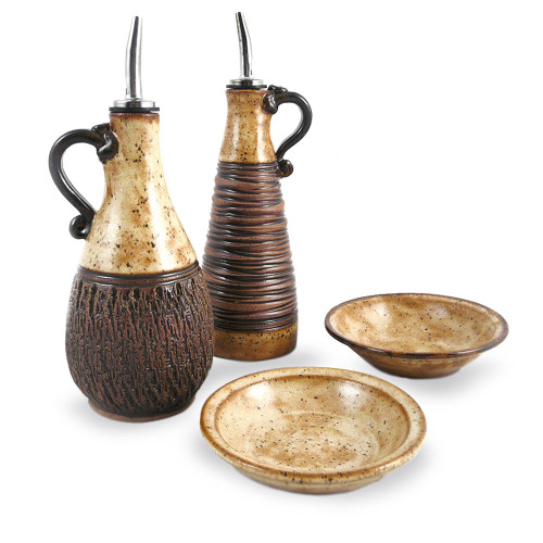 Earthy Terrain Carved Pottery Cruet Set - Sahara Sand