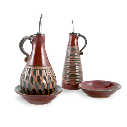 Earthy Terrain Carved Pottery Cruet Set - Moroccan Red