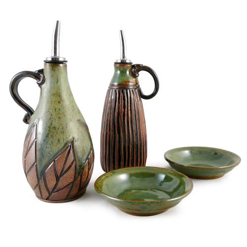 Earthy Terrain Carved Pottery Cruet Set - Botanical Green