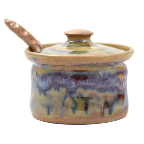 Tuscan Farmhouse Lidded Stoneware Sauce Dish with Sculpted Spoon