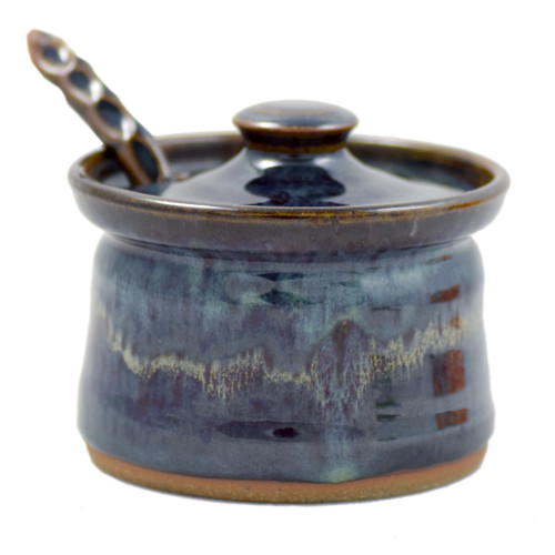 Lidded Stoneware Sauce Dish with Spoon in Midnight Blue