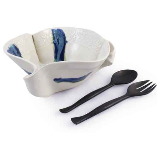 Hilborn Pottery Aurora Collection Salad Serving Bowl