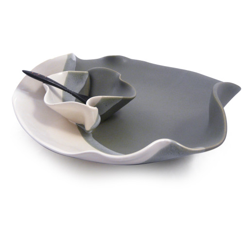 Hilborn Pottery Contemporary Twist Chip Dip Dish