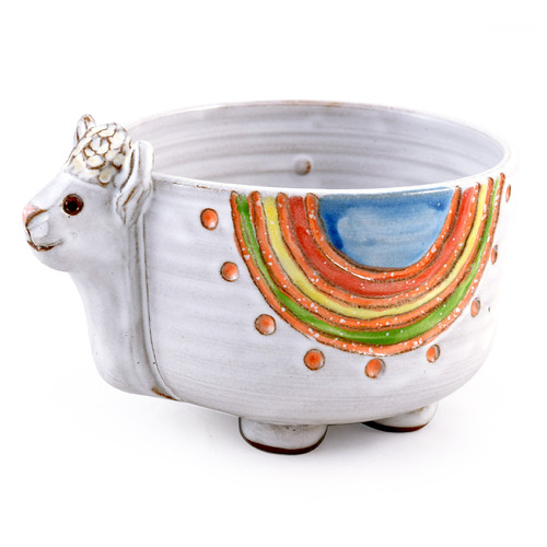 Dolly the Llama Sculpted Stoneware Bowl