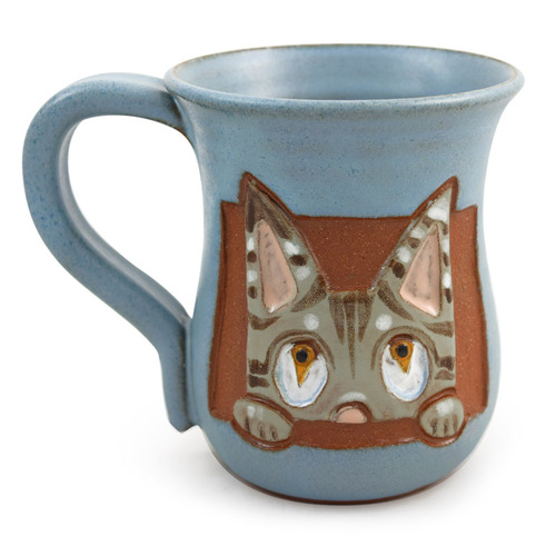 Curious Kitty Cat Sculpted Stoneware Mug