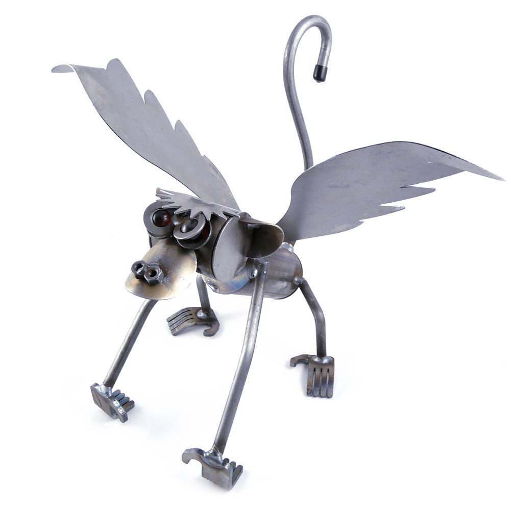 Recycled Metal Flying Monkey Sculpture