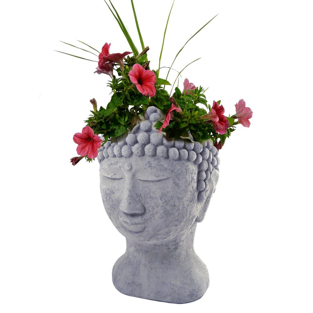Buddha Head Cast Stone Garden Planter