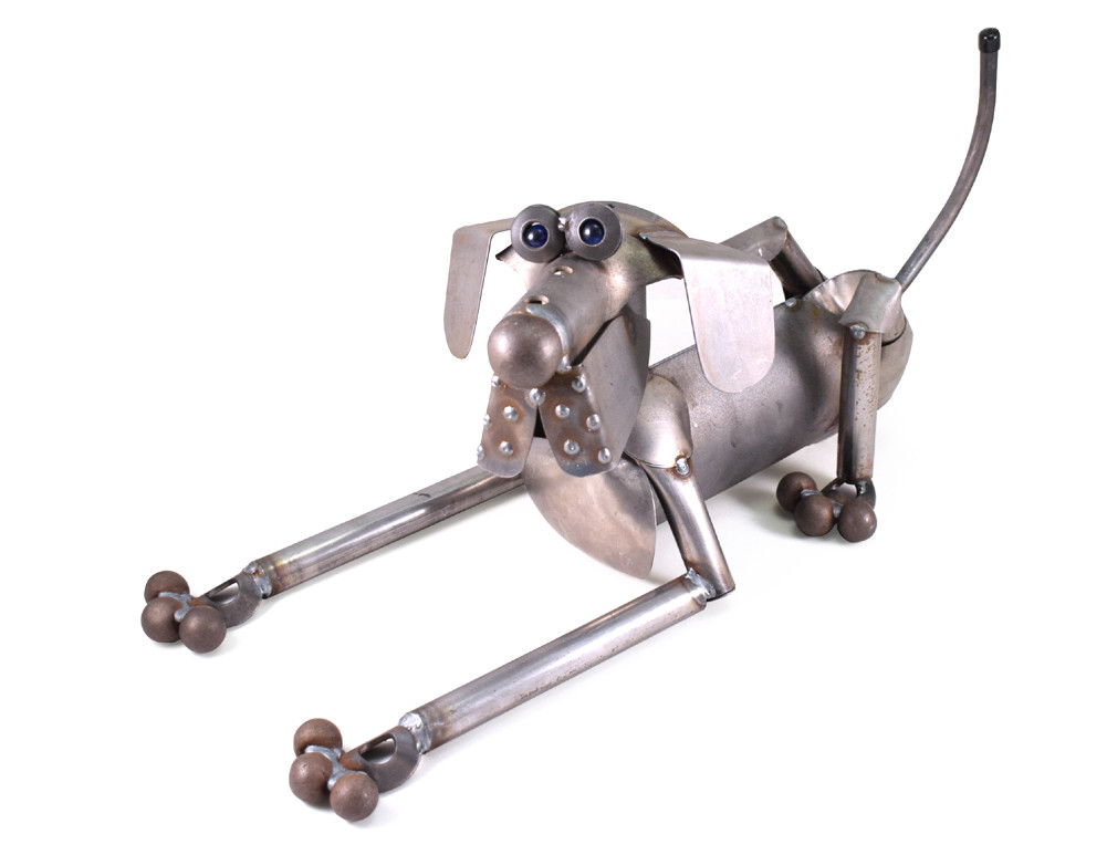 Scrappy the Dog Reclaimed Metal Sculpture