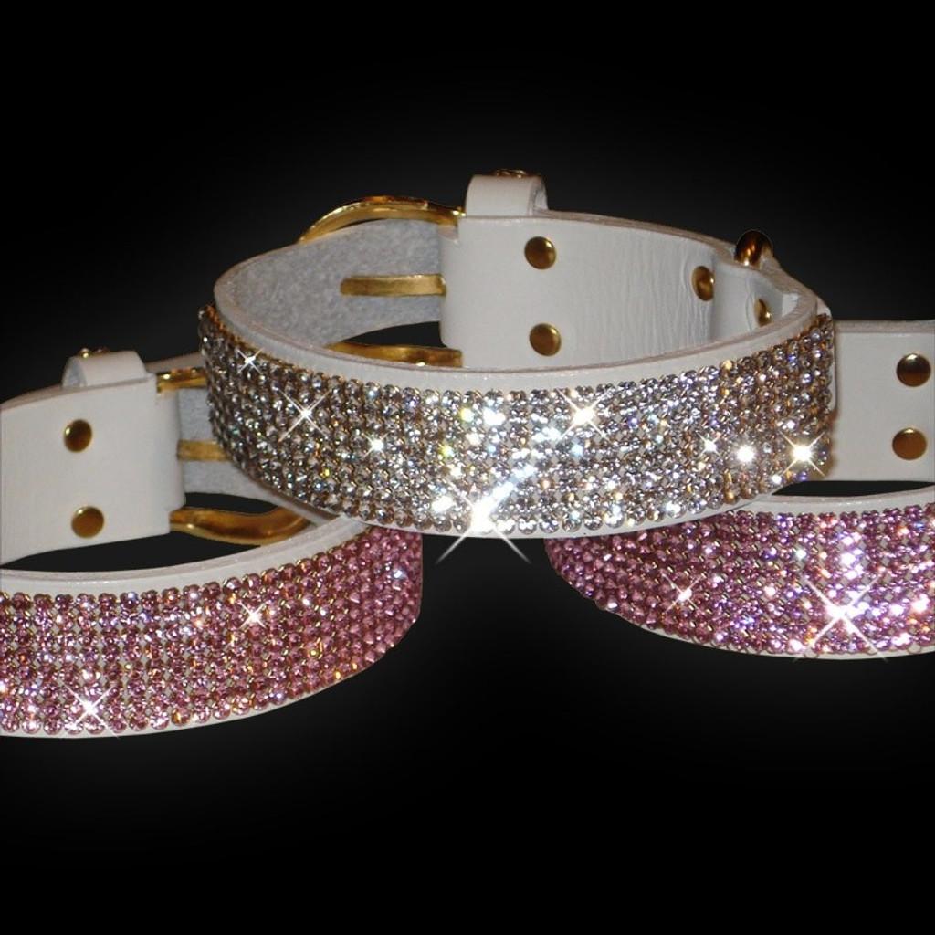 White Leather Dog Collar with Swarovski Crystals