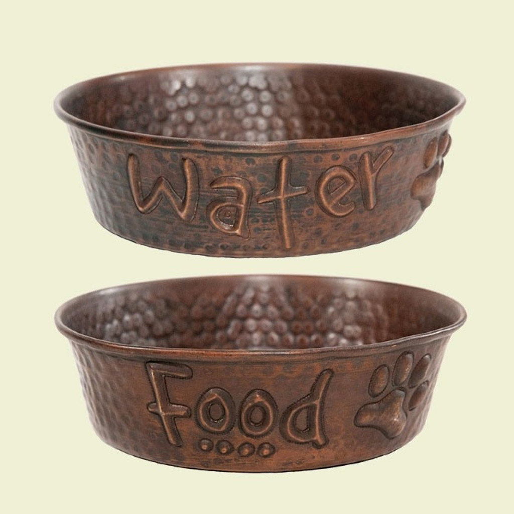 Food and Water Copper Dog Bowls (Set of 2)