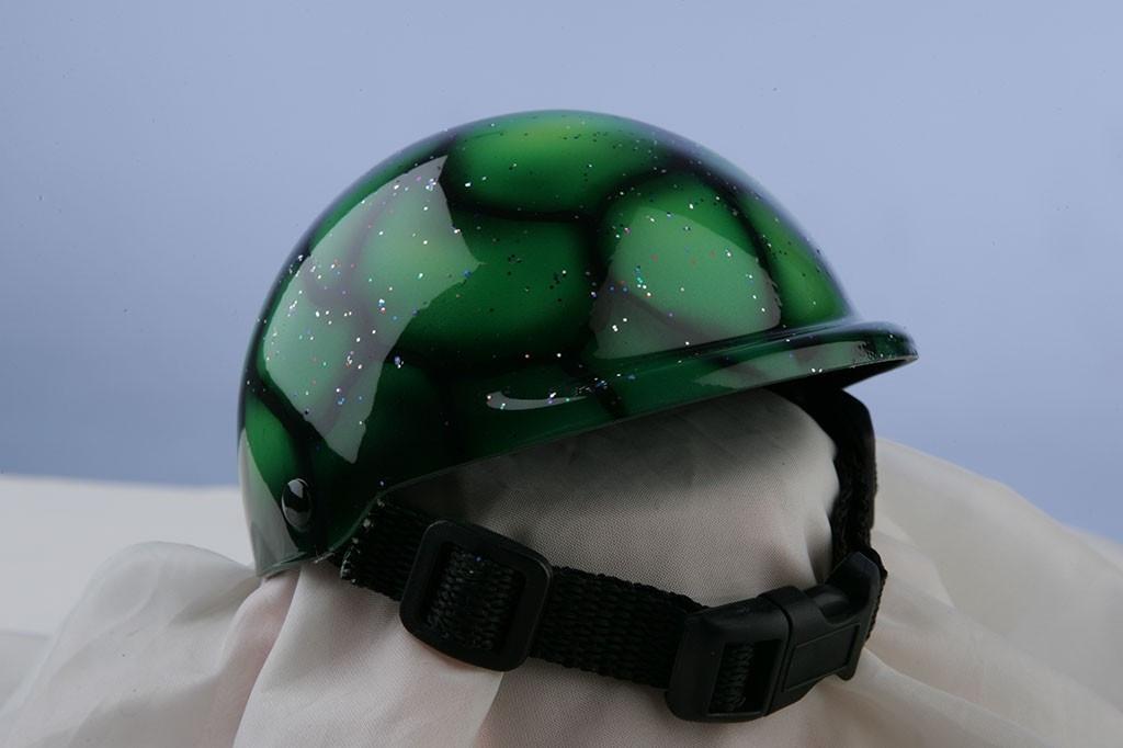 Airbrushed Green Glitter Dog Helmet