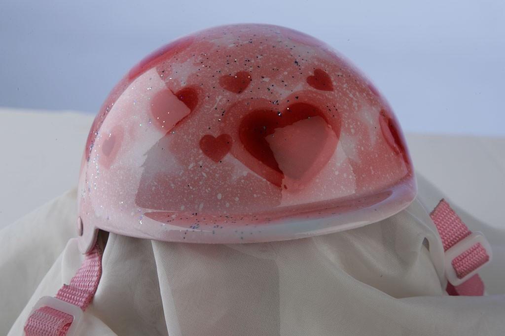 Airbrushed Glitter Hearts Dog Helmet