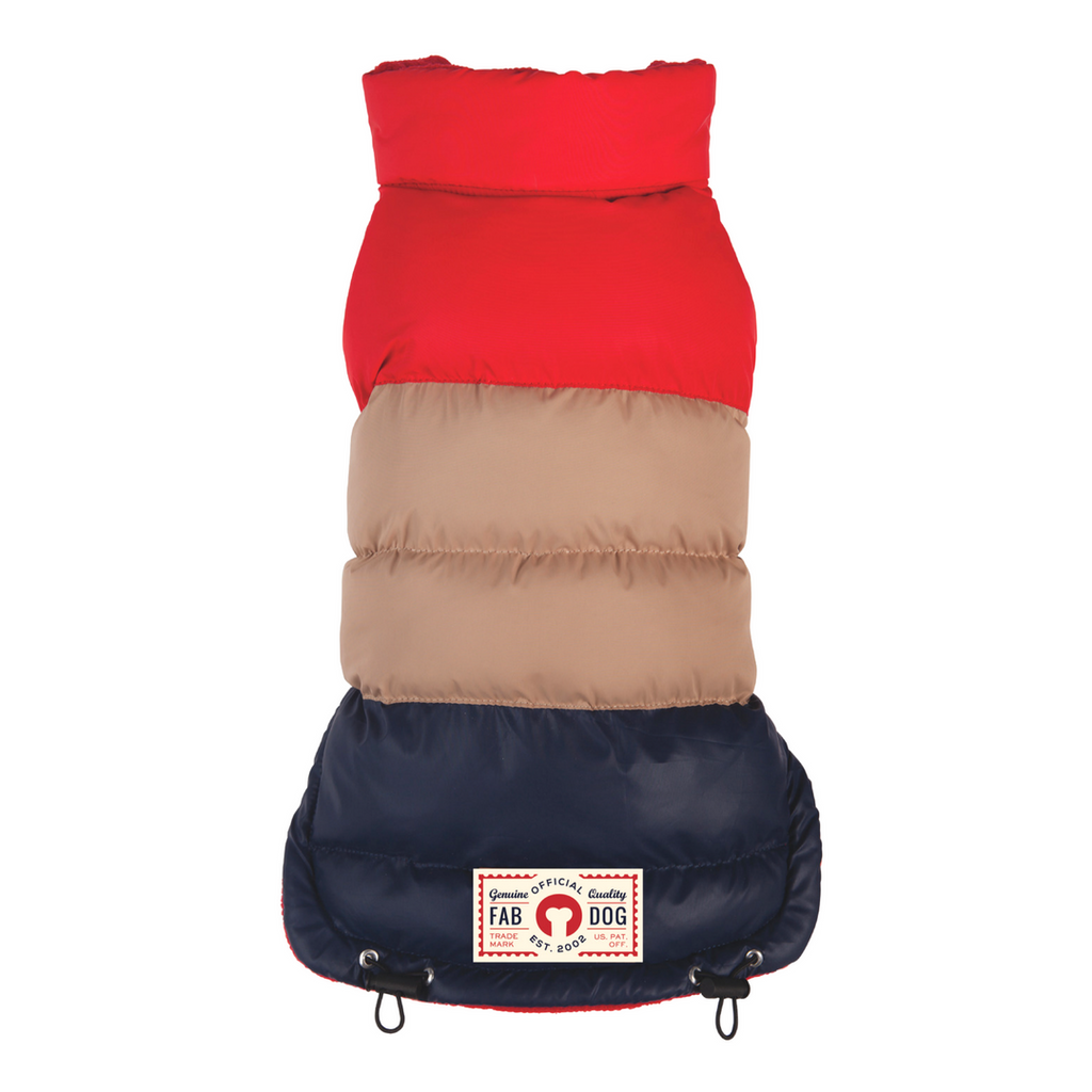 Retro Red/Tan/Navy Colorblock Puffer Dog Coat
