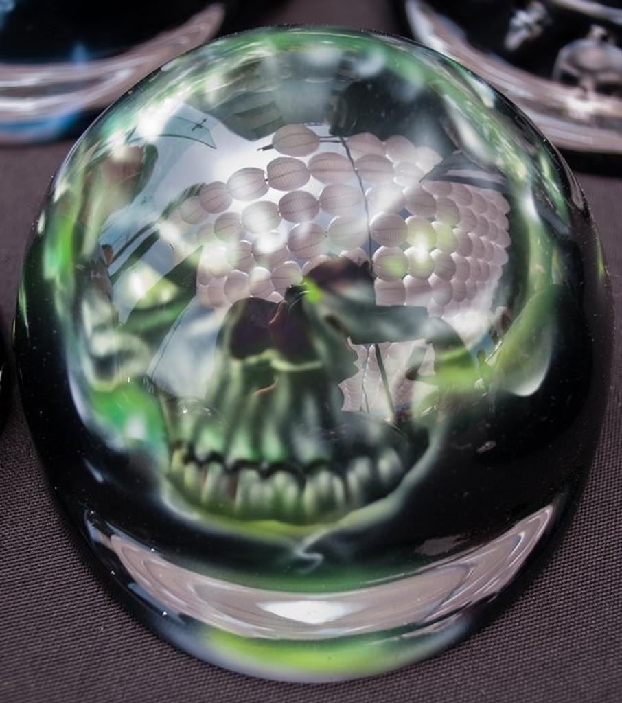Airbrushed Green Flaming Skull Dog Helmet