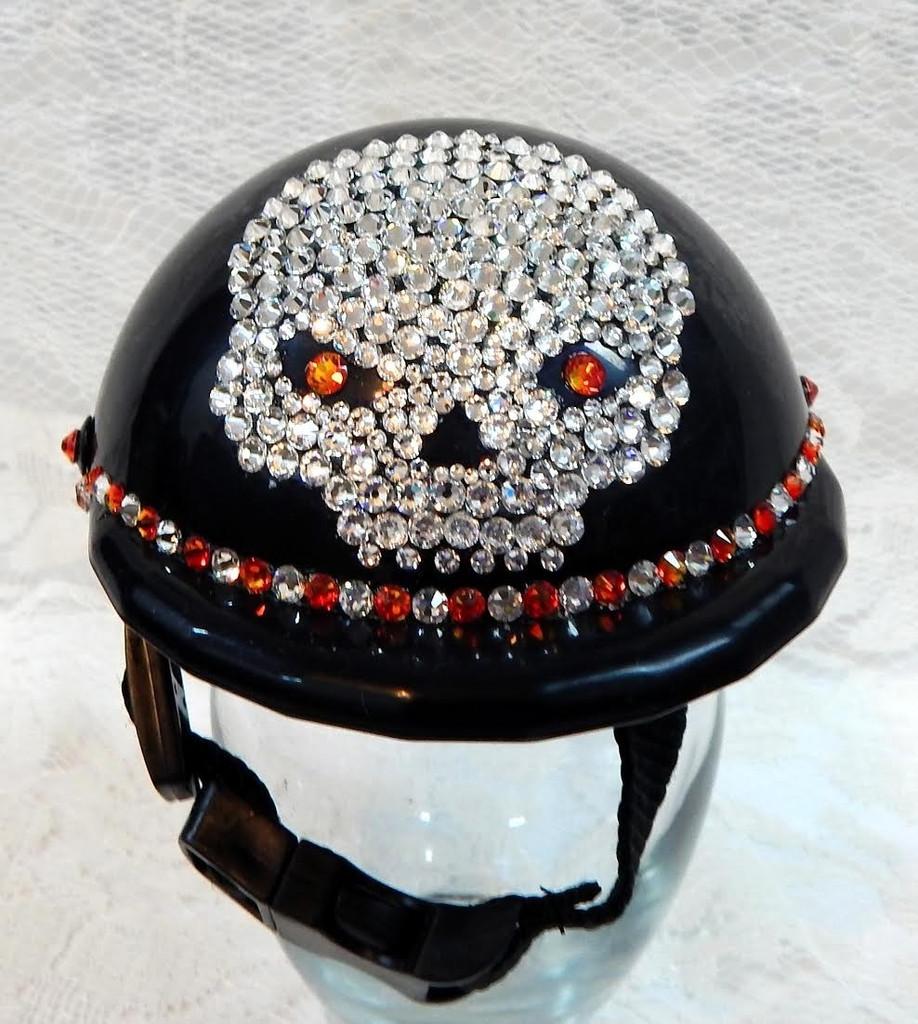 Black Bling Skull Dog Helmet