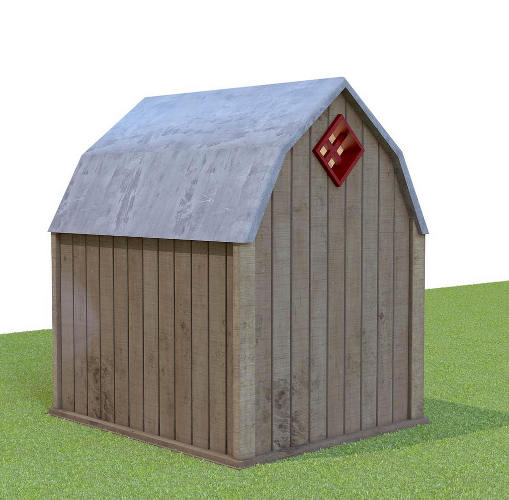 barn style dog house with sliding loft door