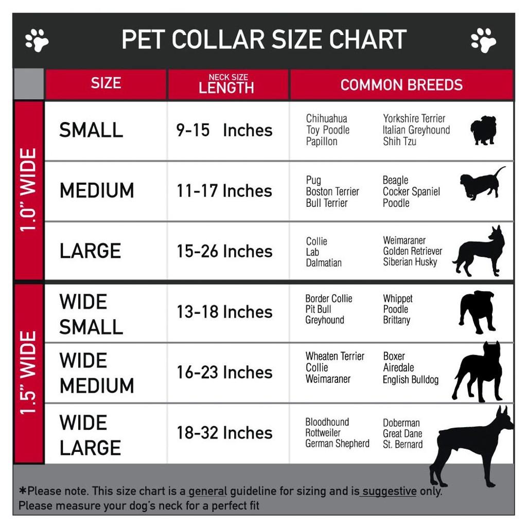 grateful dead dog collar size chart