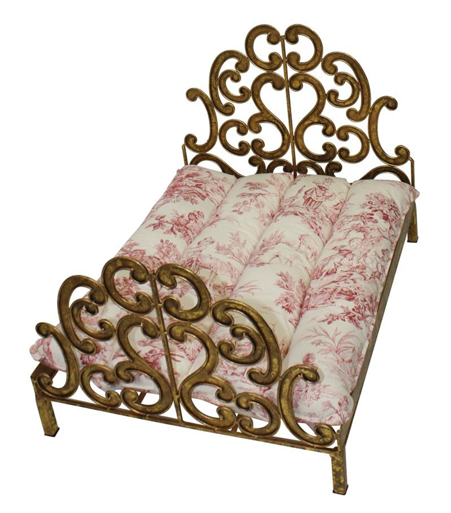 gold scroll dog bed