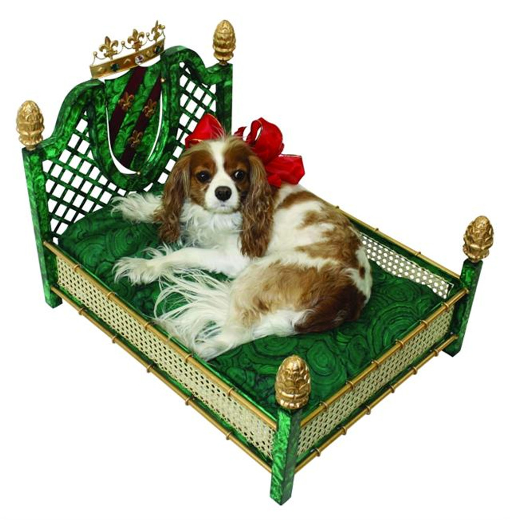 Iron and Faux Malachite Dog Bed