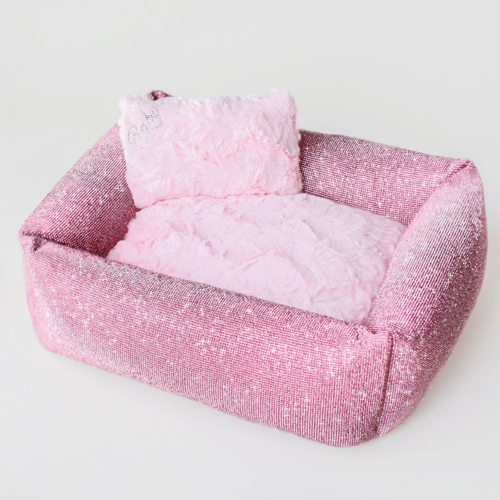 pink crystal dog bed
