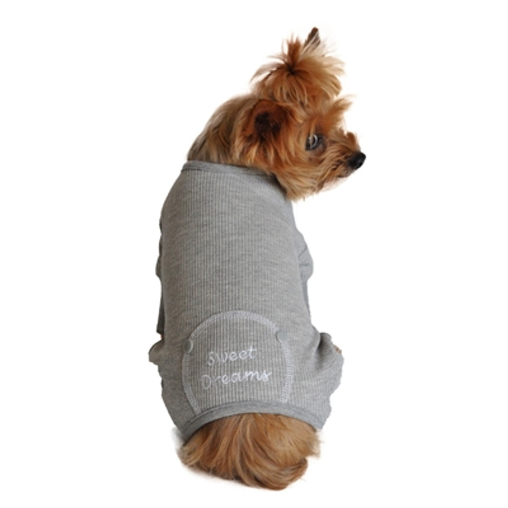 Thermal Dog Pajamas | sweet dreams grey thermal dog pajamas for dogs