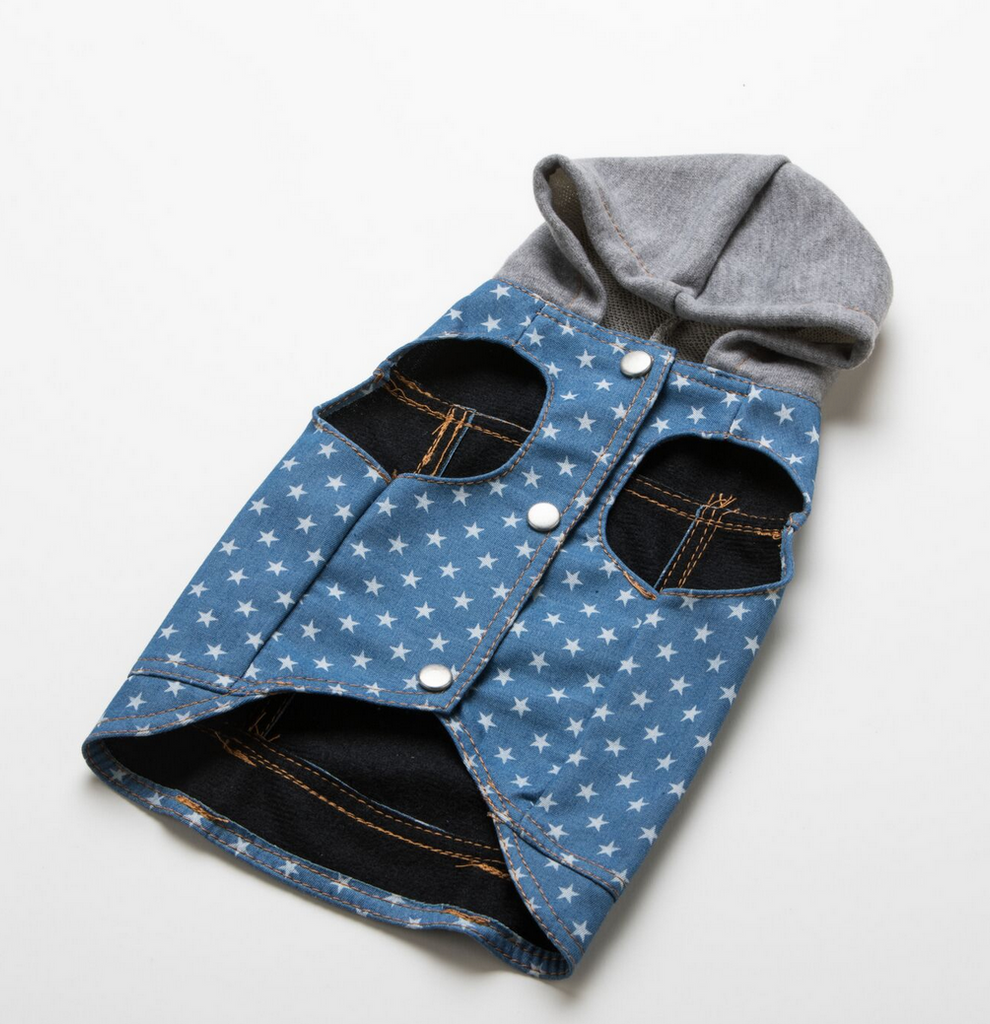 star print denim jean jacket for dogs