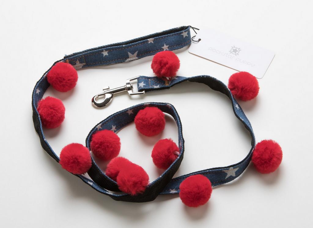 red pom pom star print denim dog leash