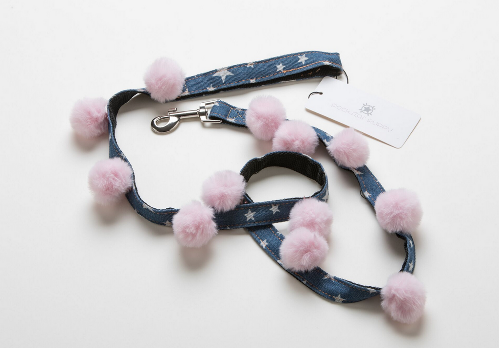 pink pom pom star print denim dog leash