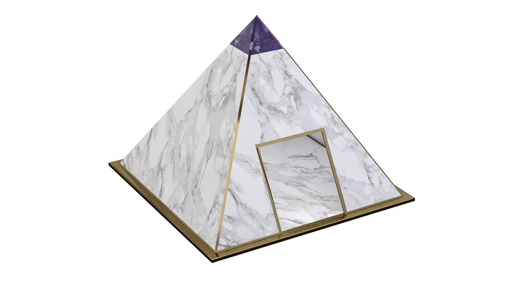 Pyramid Dog House - Faux Marble and Copper (many topper options)